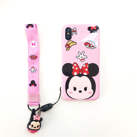 Mickey Minnie Cartoon Hanging Rope Smooth IMD Soft Shell Mobile Phone Protector Applicable to Apple 7/8/iPhone XsMax