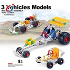 Toy Car Car Educational 3 In 1 DIY Assemble Vehicle Model Toy 291PCS Building Metal Car