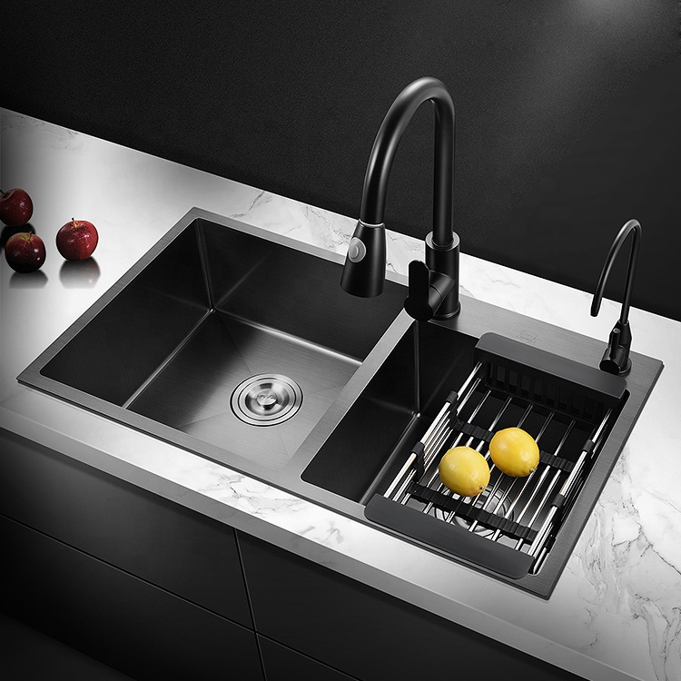 Square washing sus304 suppliers black handmade double bowl kitchen sinks stainless steel set