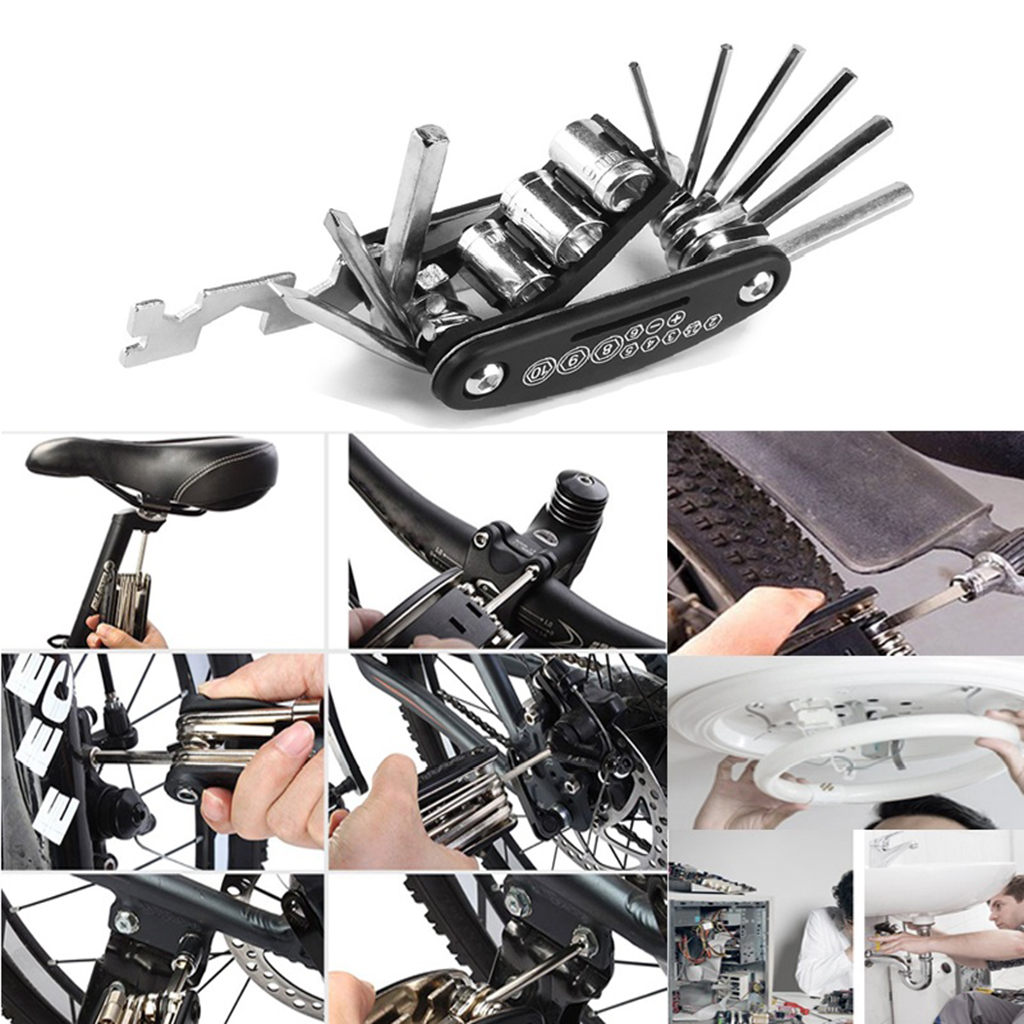 Multifunctional Bike Wrench Steel S-shape Bicycle Spanner Adjuster Portable