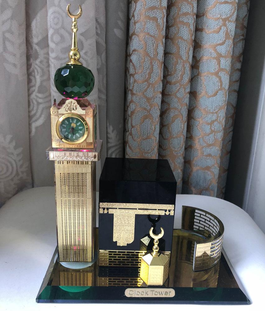 Crystal Glass Makkah Mecca Clock Tower Allah Kaaba Quran Islamic Eid Gift MH-G0455