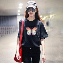 Женская футболка с бабочкой, белая Винтажная футболка, мягкая Эстетическая футболка для девушек, большие размеры, 2020, футболки с графикой, м...(China)