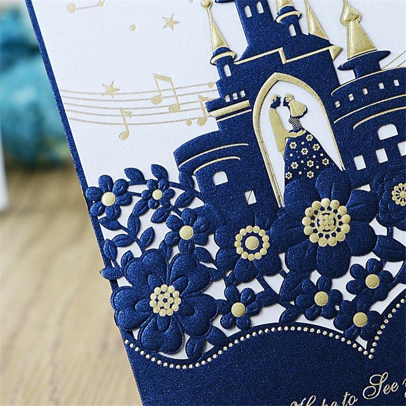 Collar de forma de invitaciones de boda de invitación de boda de madera de lujo Tarjeta de invitaciones de boda