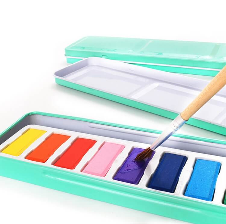 Factory Direct 12 Colors Professional Watercolor in Green Tin Palette for Beginners & Fine Art Painters