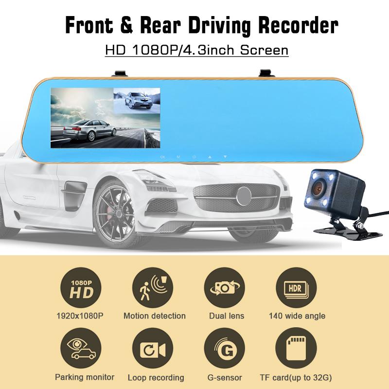 OEM/ODM de streaming Ao Vivo câmera traço auto traço cam de 4.3 polegadas câmera dupla 1080P de streaming de mídia do carro espelho gravador