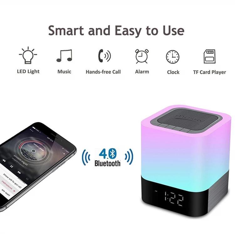 Xách Tay LED Không Dây Sạc Báo Động Đồng Hồ Bluetooth Loa Đèn Bàn Với Thẻ TF U Đĩa
