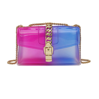 Fashion pvc shoulder square crossbody bags transparent ladies hand bags clear rainbow jelly women purse and handbags