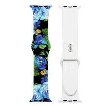 Силиконовый ремешок с принтом для Apple Watch 38 мм 42 мм 40 мм 44 мм, мягкий ремешок, спортивный женский и мужской браслет для iwatch Series 5 4 3 2(Китай)