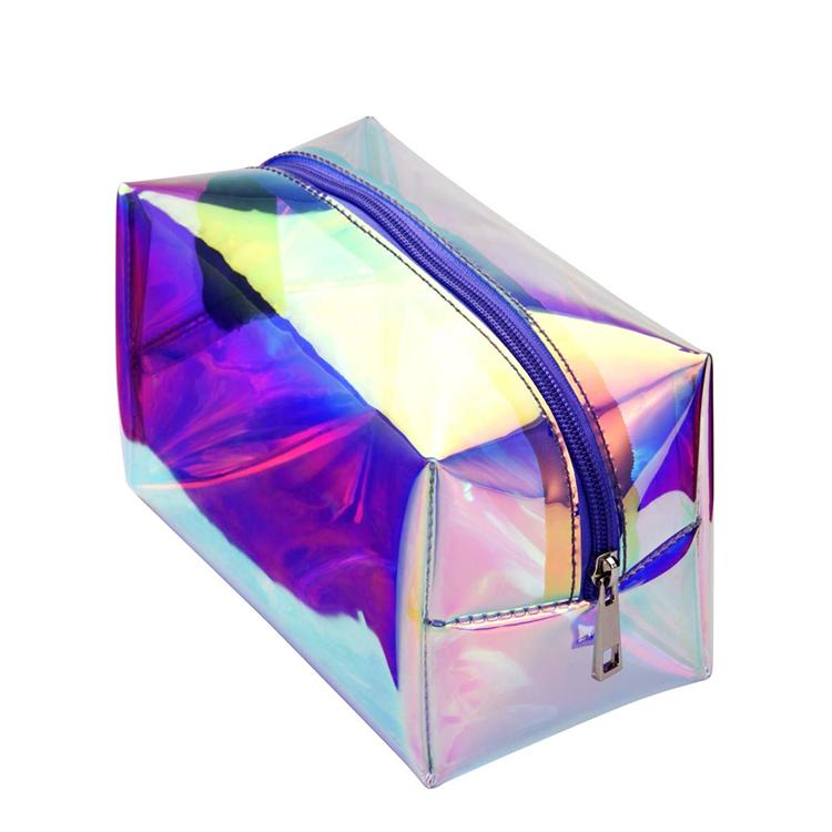 Vente en gros clair Pvc maquillage pochette hologramme cosmétique sac 100% Pvc éblouissement cosmétique holographique Pvc sac à fermeture éclair