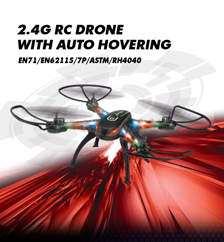 Full Function RC Quadcopter 2.4G RC Drone with AUTO HOVERING with LED Light and One Key Auto Return