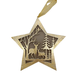 hot sale wooden golden star shape LED light Christmas Hanging art wooden Crafts gift wedding favors gifts wedding decor