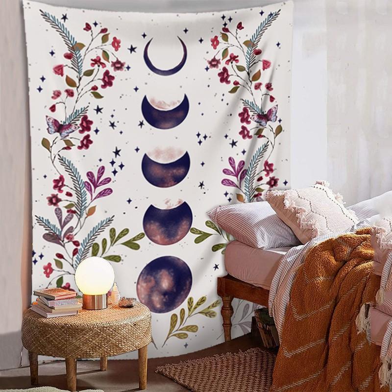 Duró decoración flor natural y la luna pintura arte floral colgante de pared tapiz