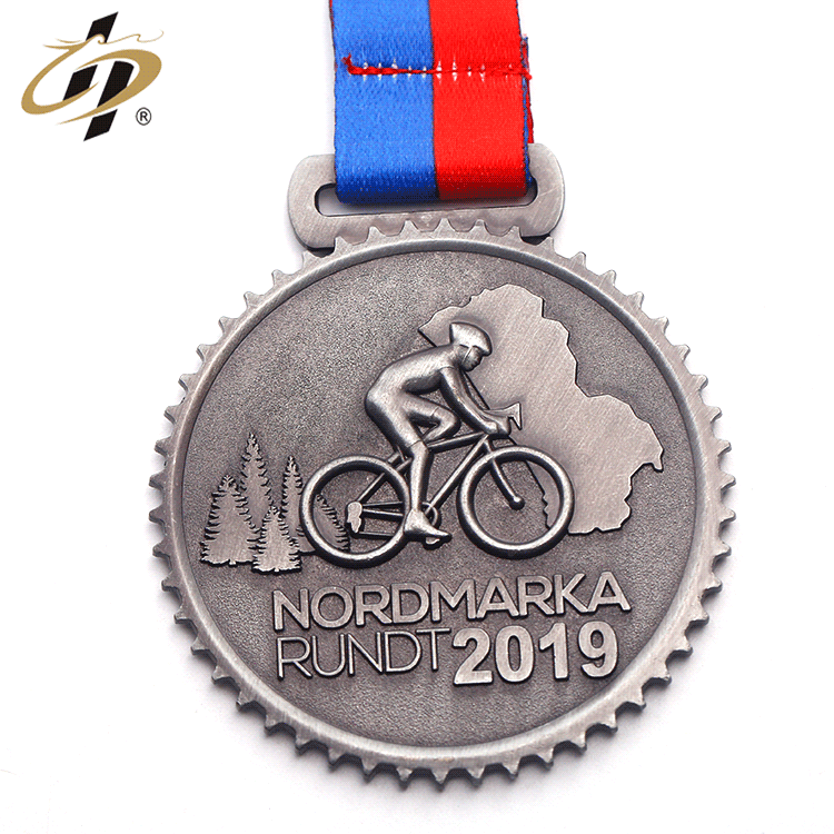 China manufacturer custom antique silver metal 3D cycling challenge medals