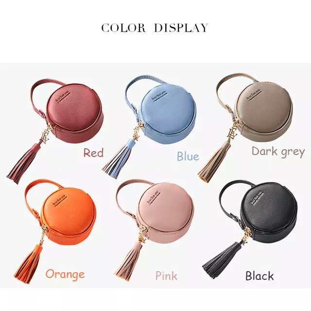 Creative Fashion  Mini Handbag PU Leather Lady Purse Small  Round Coin Purse With Tassel