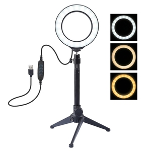 Cheapest PULUZ 4.7 inch 12cm USB 3 Modes Dimmable LED Ring Vlogging Photography Video Lights + Desktop Tripod Holder