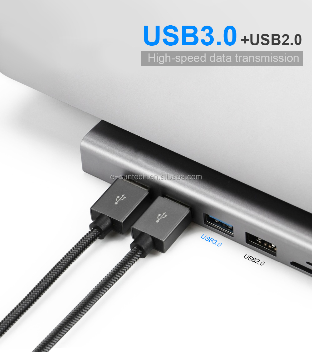 Type C usb Hub 11 in 1 to VGA UHD Lan USB 3.0 Ports SD/TF Card Reader USB-C Power Delivery for Type-C laptop