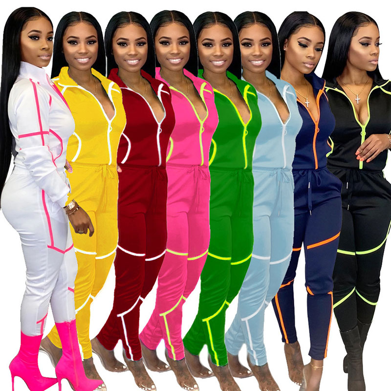 Pink Two Piece Top and Pant Set Woman Tracksuits Fall Winter Sport Outfits 2 Pc Pants Set for Women