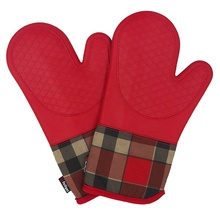 Customized Logo printed silicone gloves non slip kitchen heat resistant oven mitts