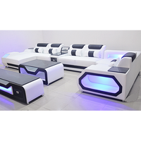 Home theatre special use sofa, luxury living room leather sofa with LED lights