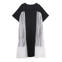 Женское платье EAM, черное Сетчатое платье большого размера с коротким рукавом и круглым вырезом, весенне-летняя мода 2020 1W213(Китай)