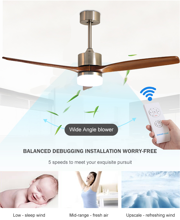 High Quality Multi function 3 ABS Blades Indoor Electric Ceiling Fan Light