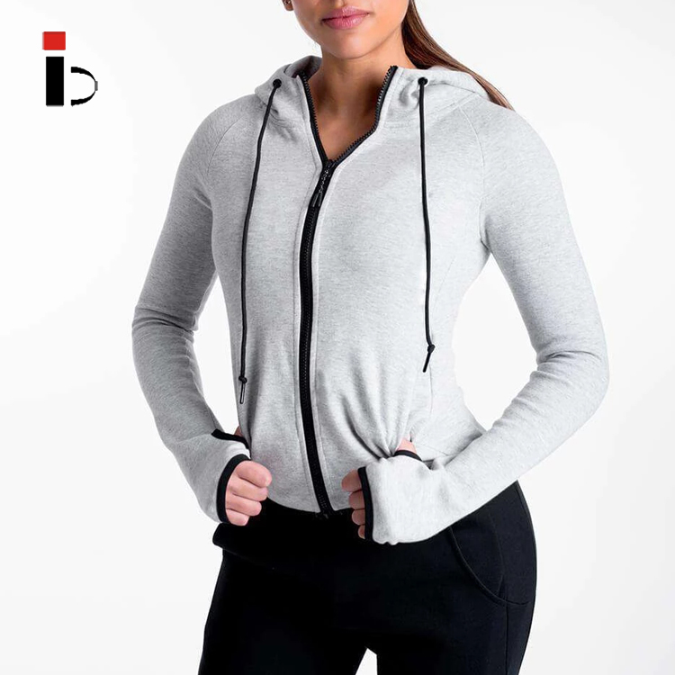New Women Fashion Cotton Sports Gym Workout Track Jacket Windbreaker