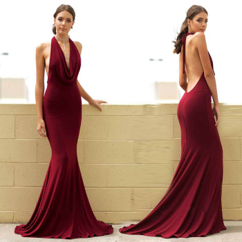 Wholesale Halter Deep V Neck Evening Gowns for Women Dresses Sexy Backless Sleeveless Mermaid Long Cheap Party Wear