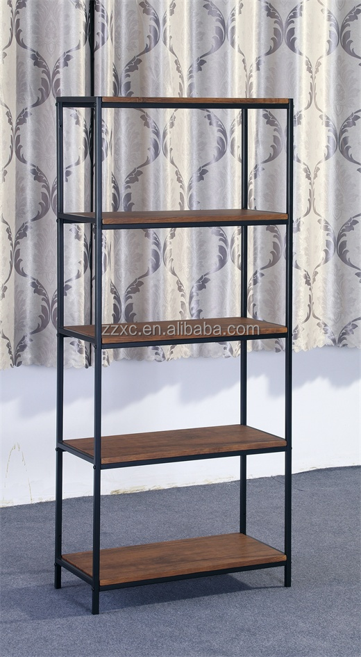 Industrial Style Wood Metal Display Storage Shelf for Living Room