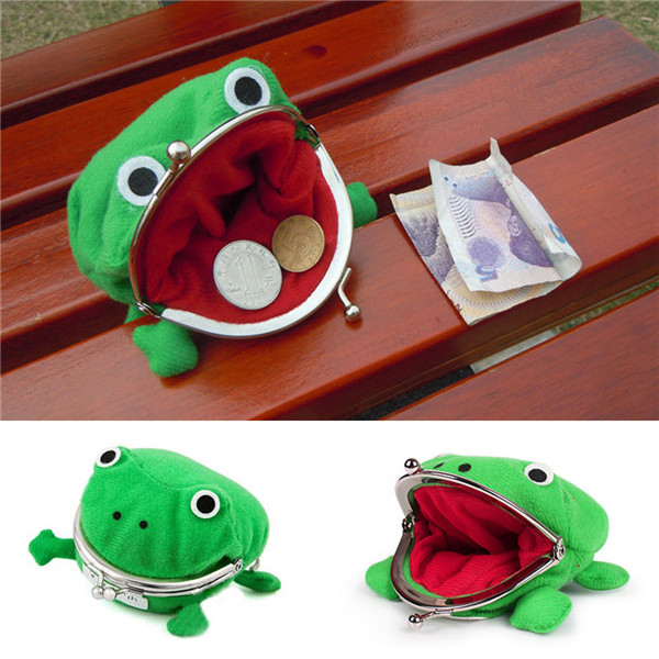 product-1PCS Frog Shape Cosplay Green Animal Bag Coin Purse Wallet Soft Furry Plush Purse Gift Smart-1
