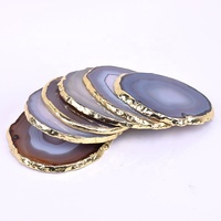 Gold Plated Polished Large Small Blue Red Purple Black Green Wholesale Natural Coaster Stone Agate Slices