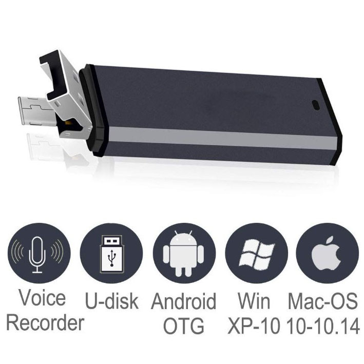 USB e Micro USB 2 in 1 Digital Audio Recorder 8GB Compatibile Con Mac e Android OTG Corpo in Metallo Piccolo USB Dittafono Registrazione
