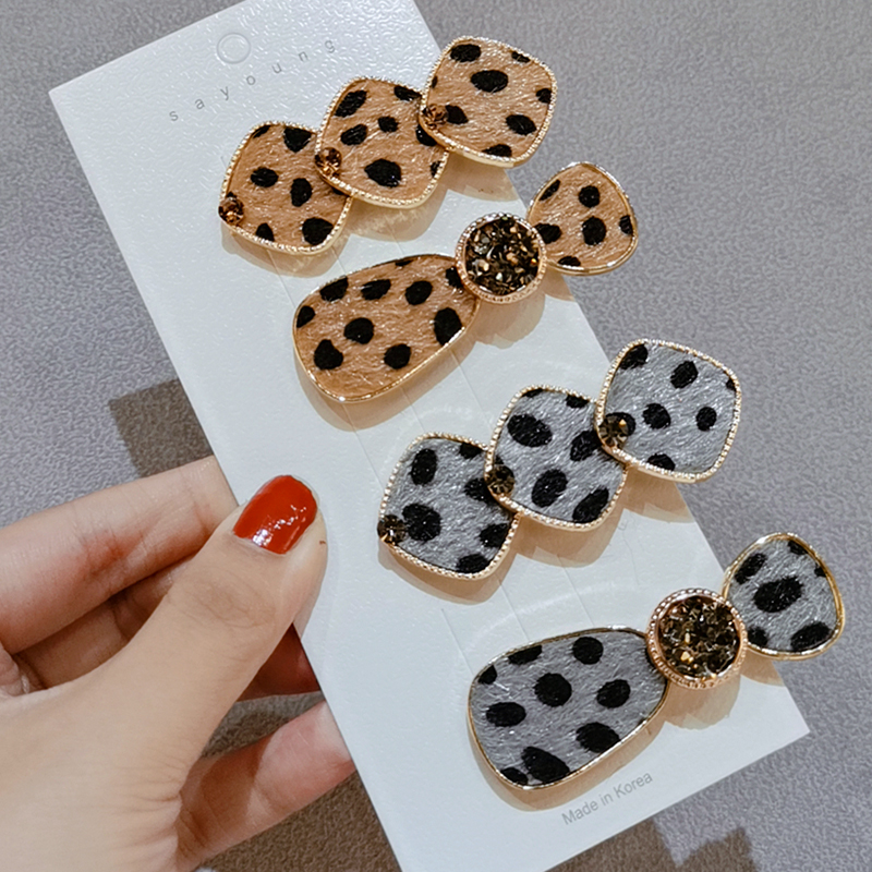 New fashion star leopard print and Czech diamond geometric duck bill  hair clip women hair accessories