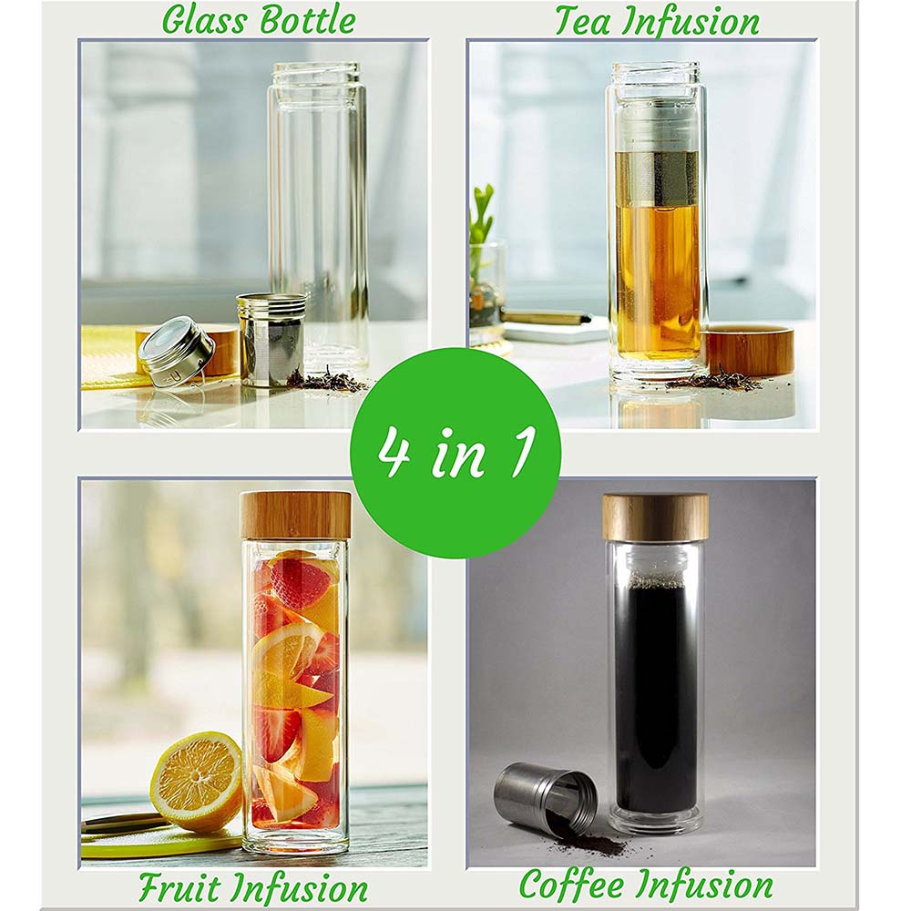 Hot Sale Double Wall Bamboo Glass Tea Infuser Water Bottle Private Label