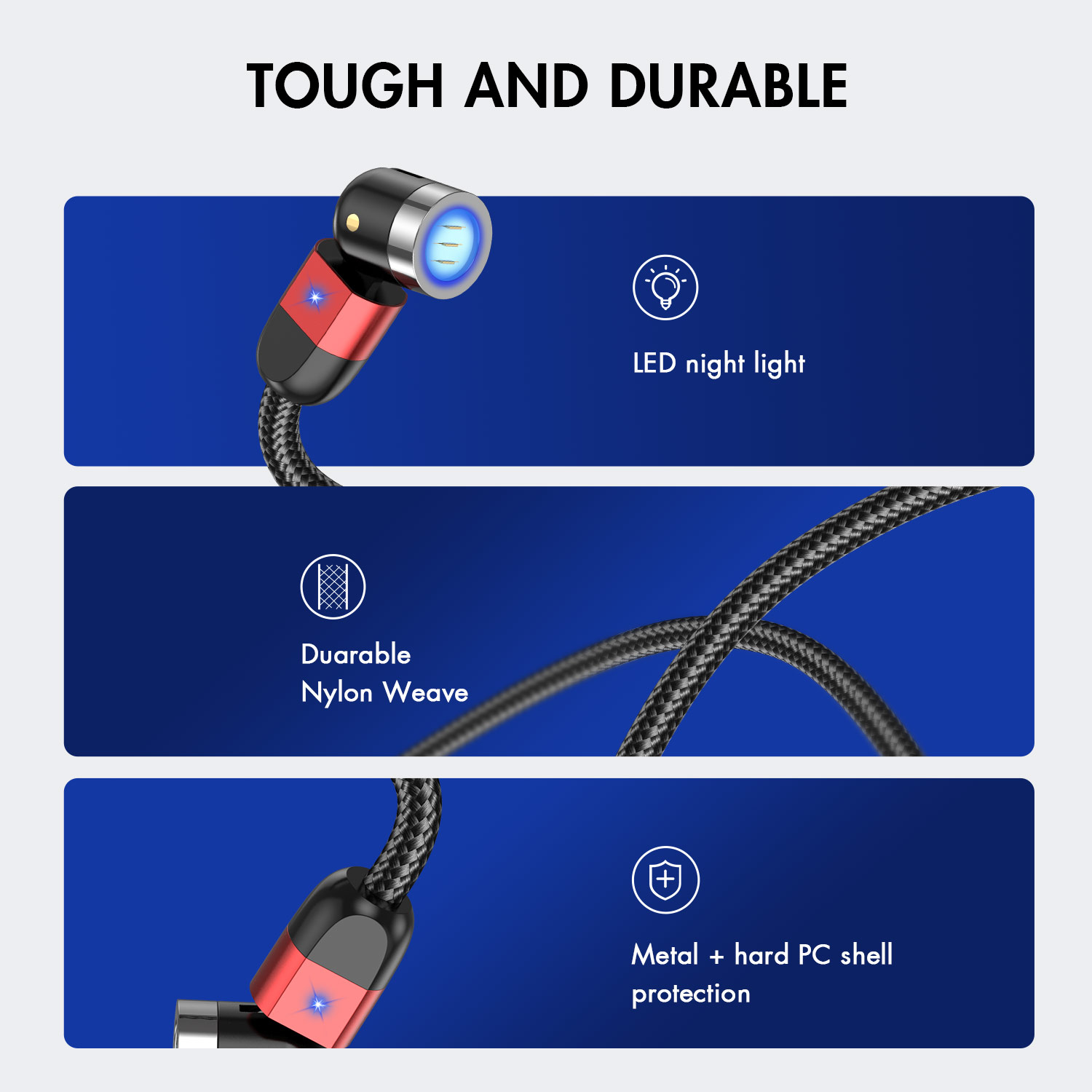 USLION 2M Magnetic USB Cable Fast Charging IOS Mobile Phone Cable For iPhone magnet data cable