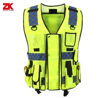 High visibility reflective vest with multi function pockets