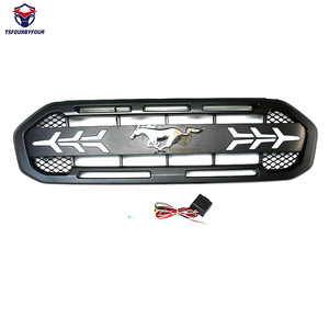 Modified Raptor style front grille black trim for Ranger 2018 2019 2020 XLT with logo & led