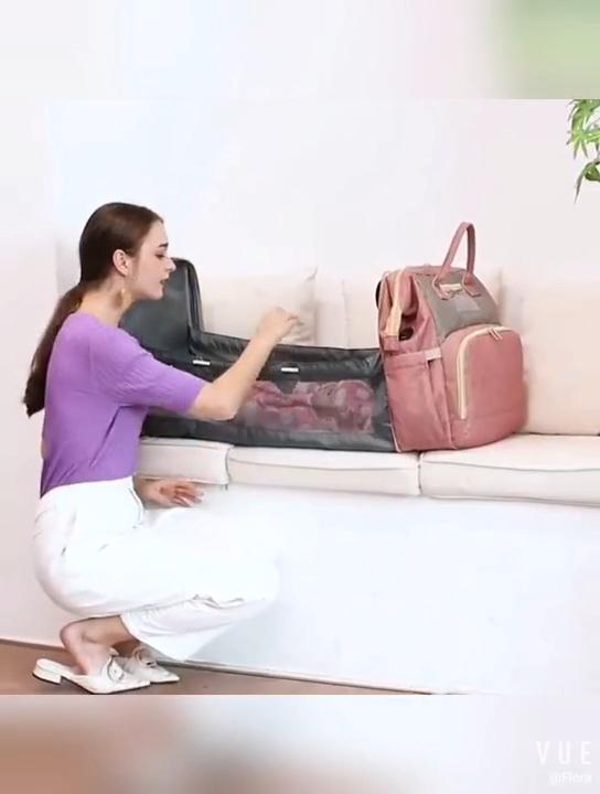 1 में 3 पोर्टेबल यूएसबी डायपर बैग के साथ बैग मम्मी यात्रा बच्चे पालना बिस्तर बैग सेट बोतल इन्सुलेशन बैग