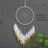 7 inch golden painted Goose feather big circle dream catcher white home wall hanging pendant