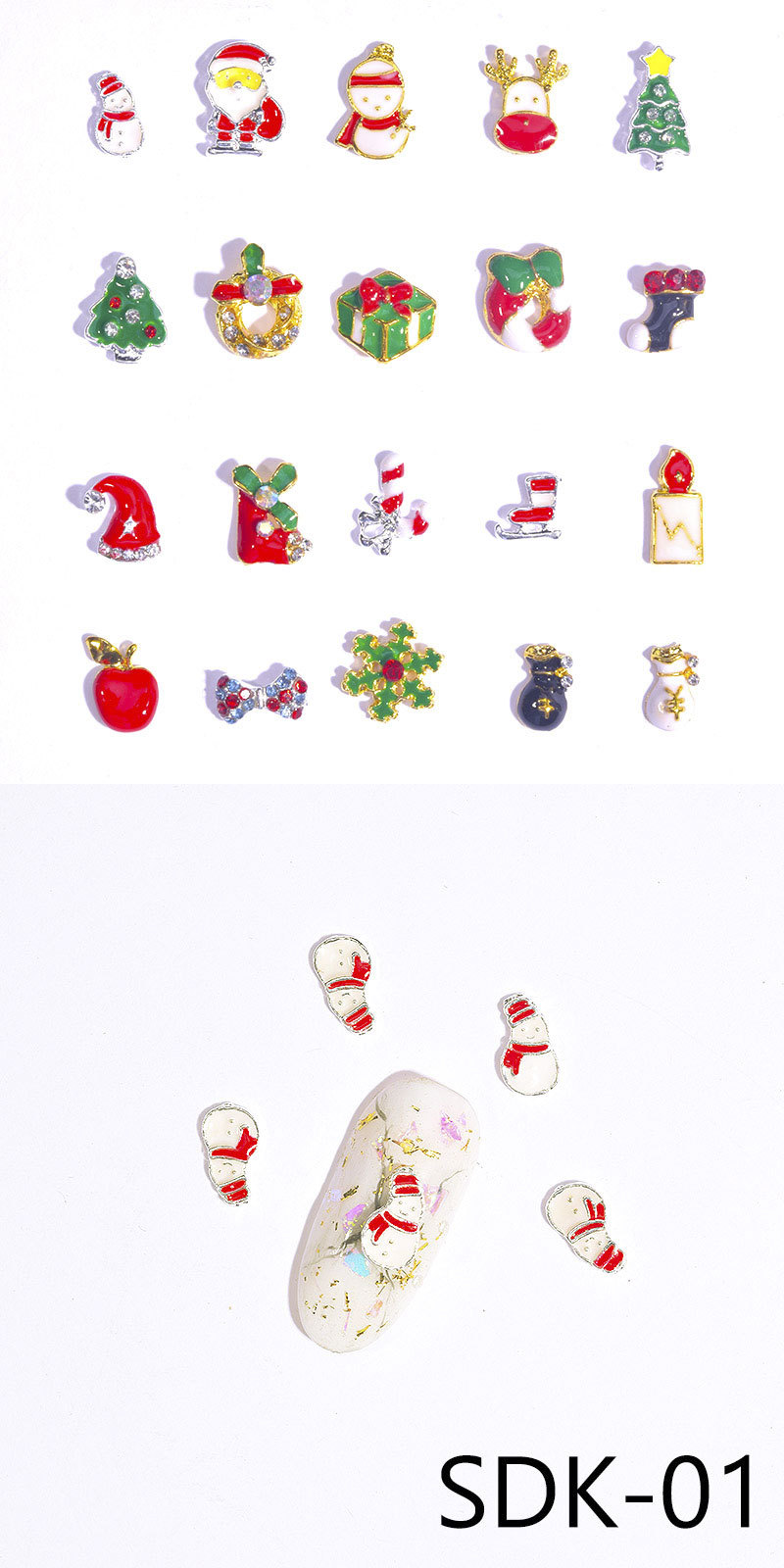 Factory Direct Wholesale Snowflakes Bell Christmas Series Alloy Nail Glitters