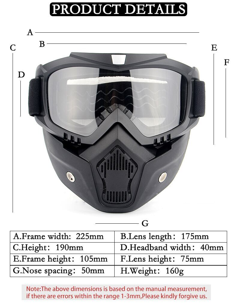 Foam Padding Afneembare Road Riding Motorbike Bril Off Road Motorfiets Masker Motocross Goggles