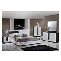 Custom 1904AA050 Modern Wood High Gloss King Bed Bedroom Set Furniture in 4 Piece