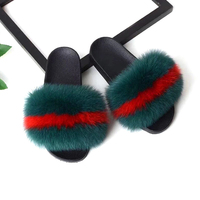 Cheap Wholesale Price Women Real Fox Slippers Fur Pompoms Lady Flip Flops