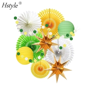 10 Pcs Paper Fans Star Lanterns Yellow Birthday Party Summer Decoration Supplies For Boy Kid SET686