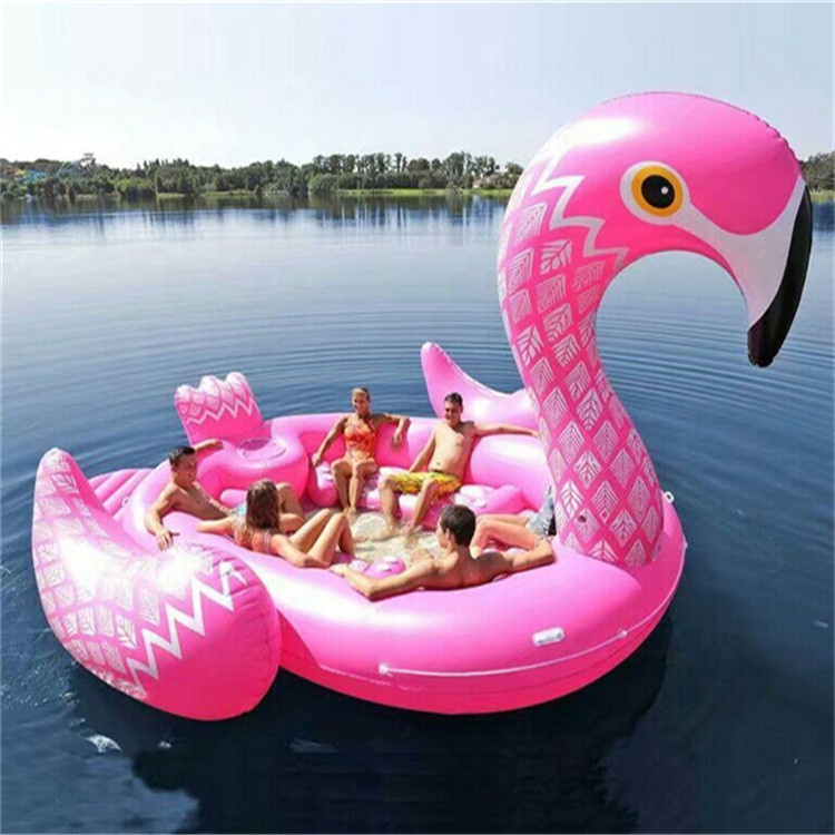 Over 9 Voeten hoge Opblaasbare Pool Float Flamingo eilanden pool float Enorme Eenhoorn Float voor 6-8 persoon water party