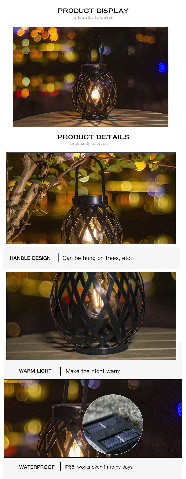 Decorative Hanging Lamp for garden outdoor decor, solar hanging lantern