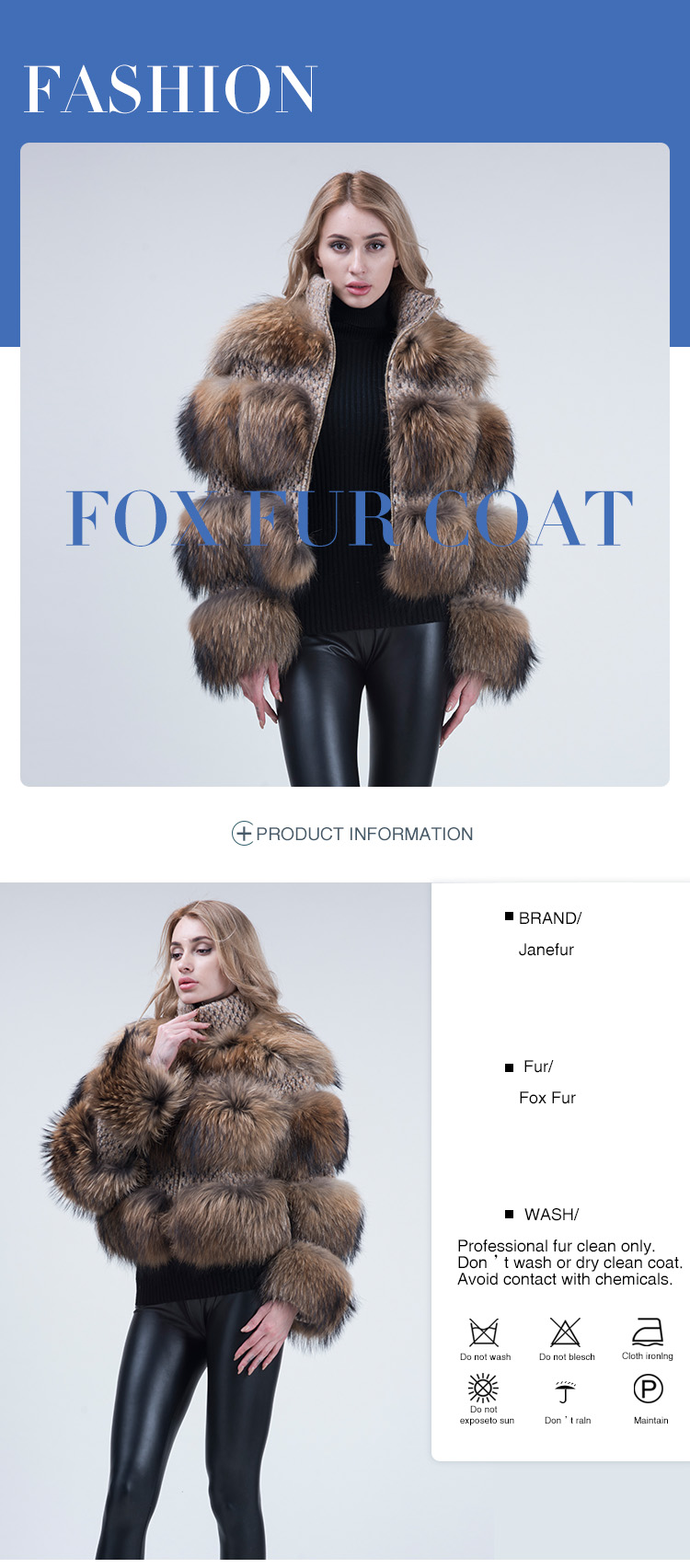 Hot Sale fox fur collar women fur coat winter fur jacket