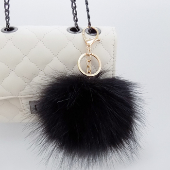 cheap soft fluffy 12cm faux fox fur ball keychains