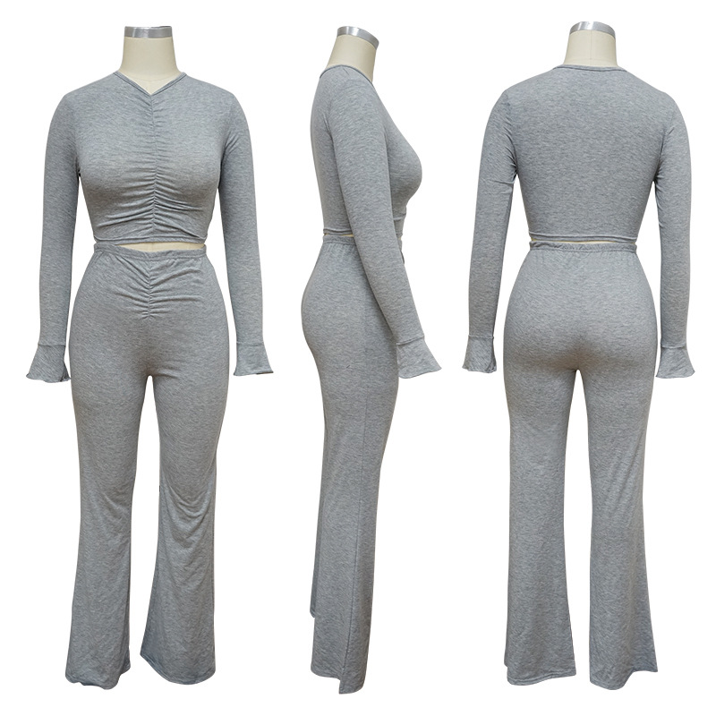 Long Sleeve Shirt Ruched Long Pants Casual Pajamas Women Home Service Suit Two-piece Set