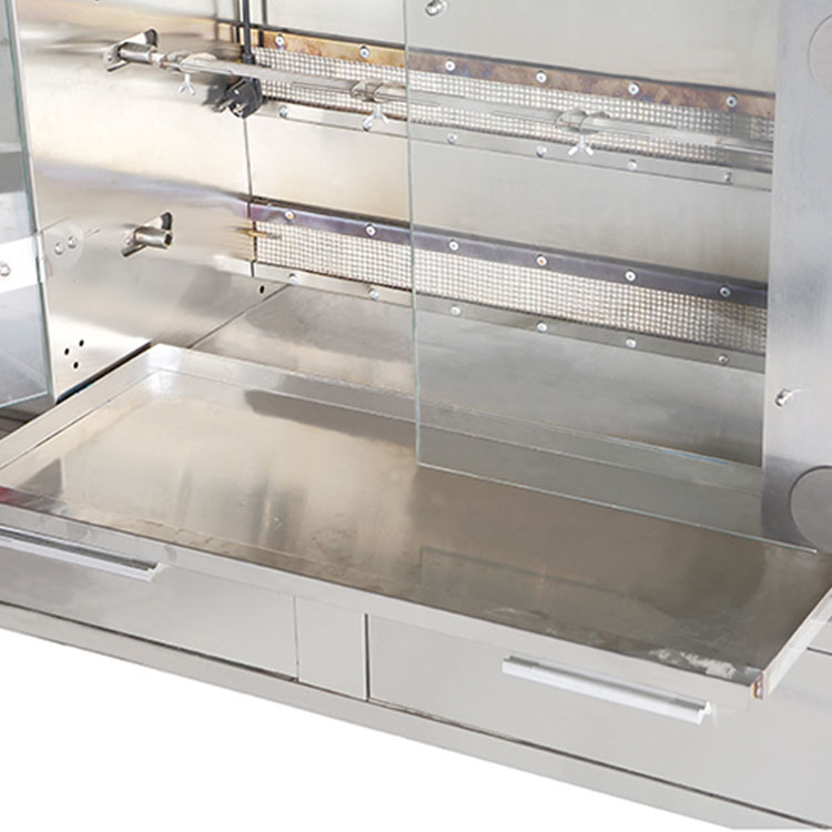 VIGEVR Toughened Glass Door All Stainless Steel 8-rod Gas Chicken Rotisserie Grill For Sale