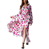 Deep V Neck Romantic Rose High Waist Pink Sexy Long Sleeve Puff Beach Maxi Dress